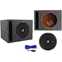 Kicker 44CWCD104 CompC 10 Sub 600W DVC Car Subwoofer+Vented Sub Enclosure Box