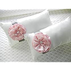 Metallic & Pink Cherry Blossom Flower Kneeling Bride & Groom Wedding Pillow Set
