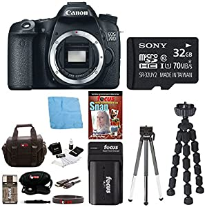 """Canon EOS 70D 20.2 MP Digital SLR Camera w/ Dual Pixel CMOS AF (Body Only) + 32GB Memory Card + Replacement Battery + Card Reader + Camera Case + 59"""" Tripod + Accessory Kit"""