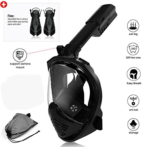 Kasuse Underwater 180 Degree Panoramic View Full Face Snorkeling Mask Anti-Fog Anti-Leak Waterproof Mask Folding Snorkel Top Swim Scuba with Snorkel Fins