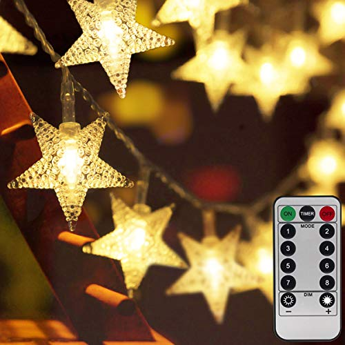 Homeleo 50ft 100 LED Star String Lights,Battery Operated LED Star Lights, Remote Warm White LED Twinkle Fairy Lights for Christmas Tree Decor Wedding Party Bedroom Decoration Princess Castle Play Tent (Operated Star Battery Lights Led)