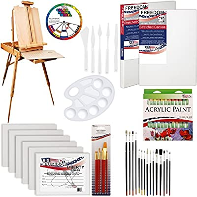 "US ART SUPPLY 62 Piece Custom Artist Acrylic Painting Kit with Coronado French Easel, 24-Tubes Acrylic Colors, 2-each 16""x20"" Artist Quality Stretched Canvases, 6-each 11""x14"" Canvas Panels, 7-Nylon Hair Paint Brushes, 15-Multipurpose Paint Brushes, Palle"