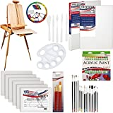 U.S. Art Supply 62 Piece Acrylic Painting Kit with Coronado French Easel, Acrylic Paint, 16''x20'' Stretched Canvases, 11''x14'' Canvas Panels, Nylon Paint Brushes, Multipurpose Paint Brushes and More