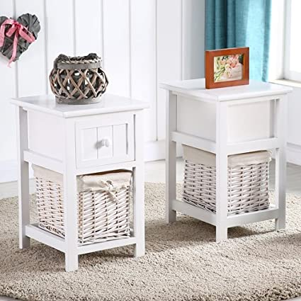 Merveilleux Mecor 1 Wicker Basket 1 Drawer Wooden Shabby Chic Storage Bedside Table, 2  PC White