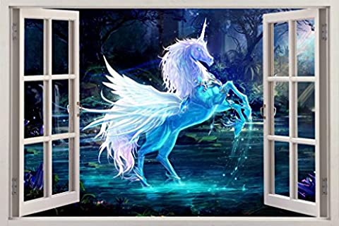 Fantasy Magic Unicorn 3D Window View Decal WALL STICKER Decor Art Mural H70, Giant (Fantasy Mural)