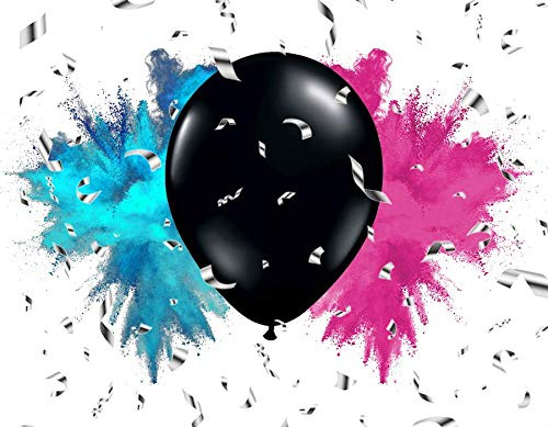 Premium Gender Reveal Party Pack - Giant Balloon with Pink and Blue Powder - shiny silver confetti - 12 Hot Pink Beads - 12 Metallic Blue Beads plus extra bonus game
