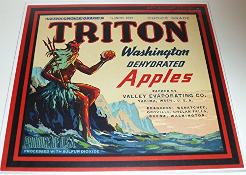 Triton Washington Apples Label - 1940's - 10
