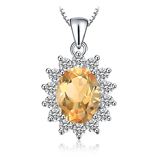 (Jewelrypalace 1.8ct Gemstones Birthstone Natural Citrine 925 Sterling Silver Halo Pendant Necklace For Women Princess Diana William Kate Middleton Necklace Chain Box 18 Inches)