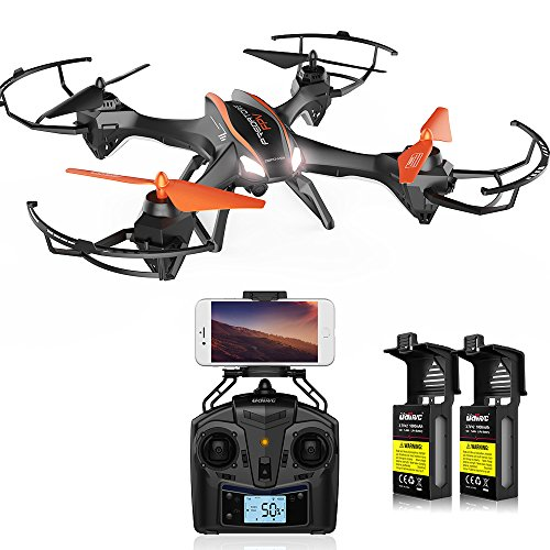 DBPOWER UDI U842 Predator WiFi FPV Drone with HD Camera 2.4G 4CH 6 Axis Gyro RTF Low Voltage Alarm, Gravity Induction and Headless Mode Includes Bonus Battery