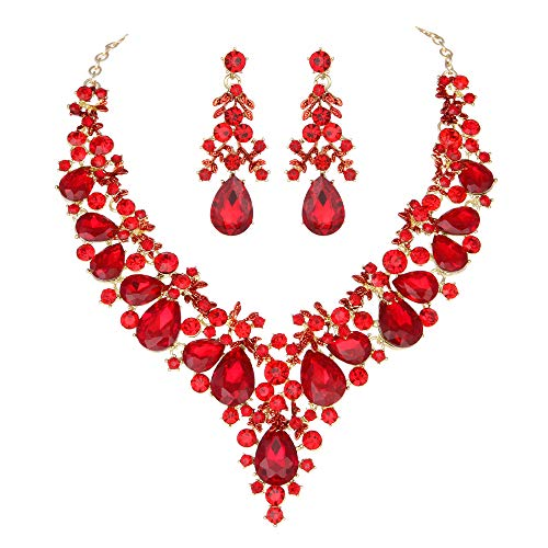 Youfir Bridal Rhinestone Necklace Earring Jewelry Set for Brides Wedding Party Dress(Red)