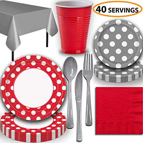 Disposable Tableware, 40 Sets - Ruby Red and Silver Dots - Dinner Plates, Dessert Plates, Cups, Lunch Napkins, Cutlery, and Tablecloths: Premium Quality Party Supplies Set