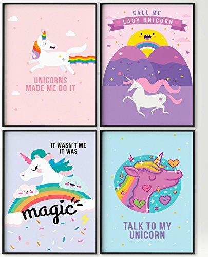 Pillow & Toast Set of FOUR, 11X17 Magical Posters, Unicorns Posters With GOOD VIBES Written Ready To Hang On Wall. Baby Themed Room Decor, Kids Room Decor Poster, Girls Power Decor by (1 Decorating Ideas Bedroom)