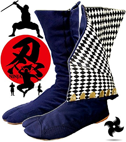 Ninja High Top Tabi Boots Outdoor Split Toe Shoes Navy Blue Checkered Pattern