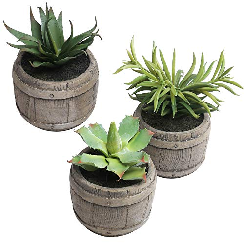 MyGift Assorted Mini Artificial Succulents Plants in Rustic Wood Barrel Design Pots, Set of 3, Brown For Sale