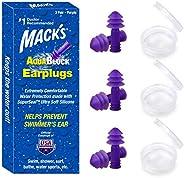 Mack's AquaBlock Swimming Earplugs, 3 Pair - Comfortable, Waterproof, Reusable Silicone Ear Plugs for Swim