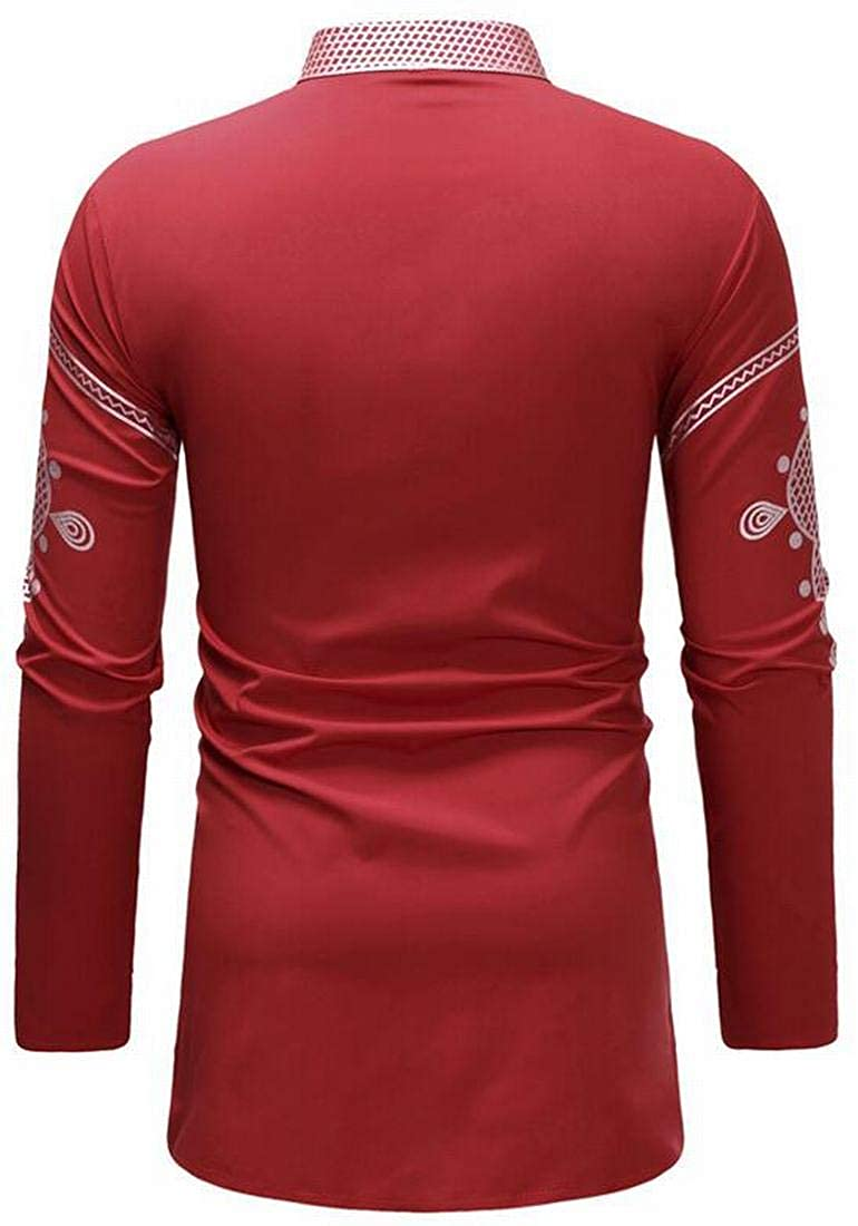 ARTFFEL Mens Plus Size African Print Dashiki Stand Collar Casual V-Neck Mid Length Dress Work Shirt