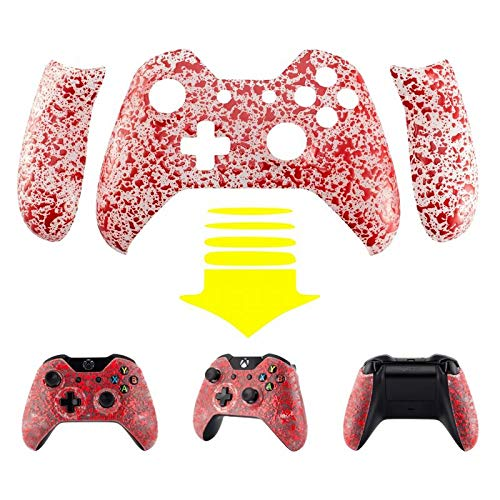 - eXtremeRate 3D Splashing Textured Red Front Housing Shell Faceplate with Side Rails Panel for Standard Xbox One Controller (Model 1537/1697)