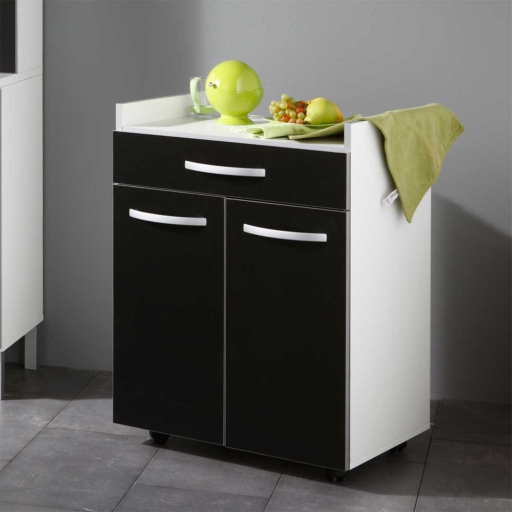 Pharao24 Beistellschrank für Küche Schwarz Weiß: Amazon.de: Küche ...