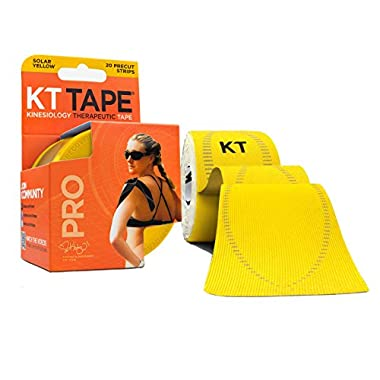 KT TAPE PRO Synthetic Elastic Kinesiology 20 Pre-Cut 10-Inch Strips Therapeutic Tape, Solar Yellow
