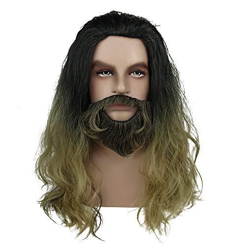 Aquaman Long Curly Hair and Beard And Mera Cosplay Wig Halloween Costume Wig ()