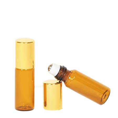 35b025c0e9ff 10 Pcs 5ml Empty Essential Oil Amber Glass Roller Bottle Vials Refillable  Travel Cream Liquid Aromatherapy Perfume Lip Balm Metal Ball Roll on  Bottles ...
