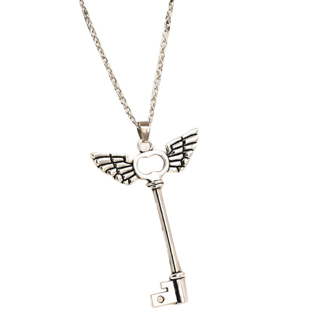 Women Ladies Angel Wings Key Friendship Pendant Long Chain Silver Necklace Yanvan Necklace Jewelry