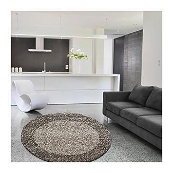 Amazon.de: LIFE Tapis de salon shaggy rond Ø120 cm - Taupe