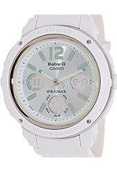Casio Women's Baby-G BGA150-7B2 White Resin Quartz Watch with Green Dial