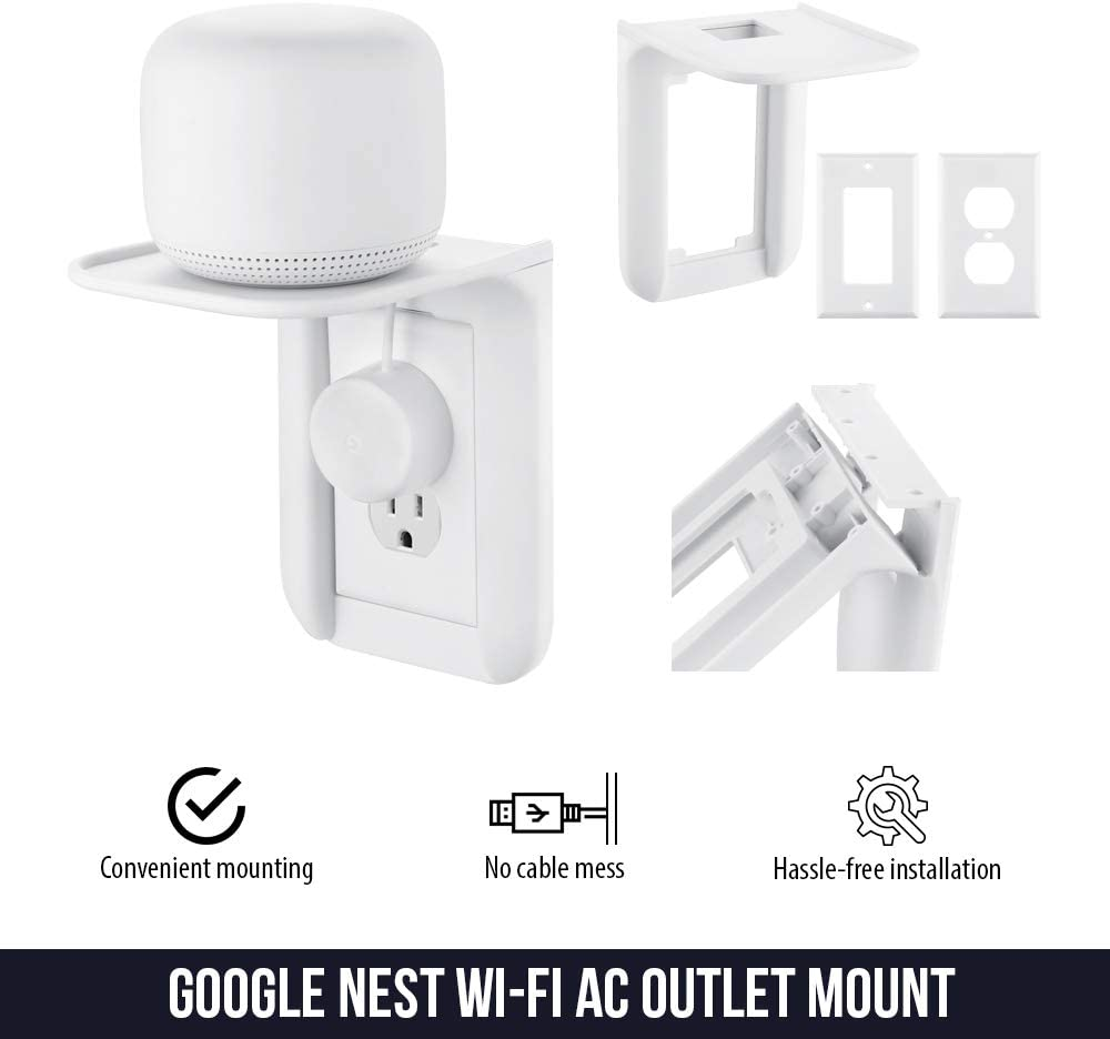 Smartphones and Other Electronics Sonos One Perfect Wall Outlet Shelf for Google Home Nest Mini /& Nest Hub Wasserstein AC Outlet Mount for Google Nest WiFi 2-Pack 2nd /& 3rd Speaker Dot 1st