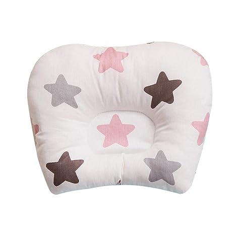AOLVO Almohada para bebé, Suave y Gruesa Almohada de algodón Transpirable para bebé, Almohada de Apoyo para la Cabeza del bebé, Almohada Lavable para ...