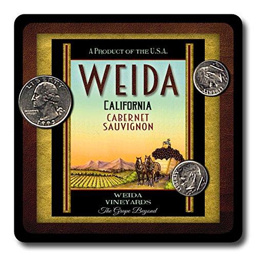 Weida Family Vineyards Neoprene Rubber Wine Coasters   4 Pack