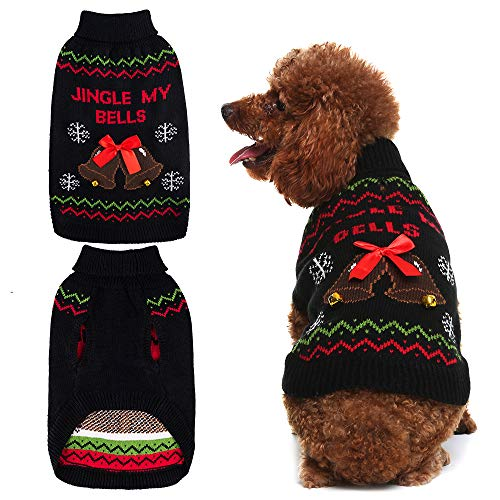 Mihachi Christmas Dog Sweater with Bells Snowflake Pattern Winter Clothes Soft Knit to Keep Warm Black
