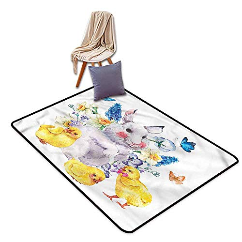 - Hallway Rug,Cartoon Happy Bunny Vintage Easter,Large Area mat,4'11