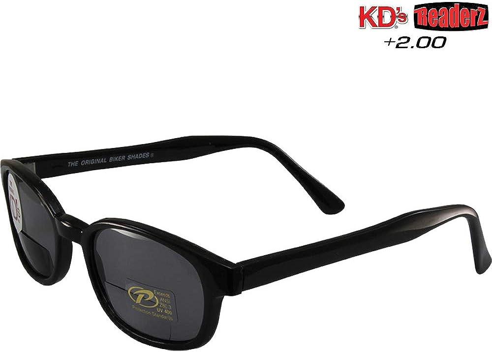 Original KD/'s Biker Shades By PCSUN Black Frames 2.50 Magnification Clear Lens
