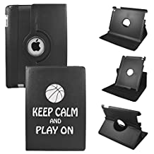 Keep Calm And Play Basketball On IPad Mini 4 Leather Rotating Case 360 Degrees Multi-angle Vertical and Horizontal Stand with Strap (Black)
