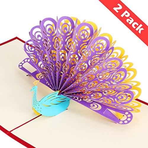 (2 Pack 3D Pop Up Cards, Wimaha Peacock Thank You Card Greeting Cards in Chinese Paper Cutting Creative Pop-up Cards,15cm x)