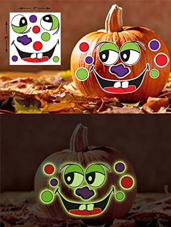Amazoncom Glow In The Dark Pumpkin Decoration Temporary Tattoos