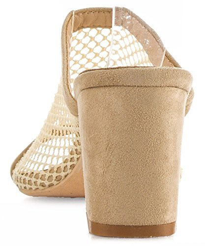 CAPE ROBBIN Women's Vegan Open Toe Mesh Perforated Slip On Mules Nude (7)