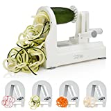 Sterline Spiral Vegetable Slicer, 4 Blade Counter Top Spiralizer for Veggie Pasta Salad Creations, Strong Stainless Steel Blades, Cut and Shred Zucchini Zoodles, Cucumbers, Onions, BPA Free, White