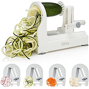 Sterline Spiral Vegetable Slicer, Premium 4 Blade Manual Spiralizer for Veggie Pasta Creations, Strong Stainless Steel Blades Cut Zucchini Zoodles, Cucumbers, Onions, BPA Free, White