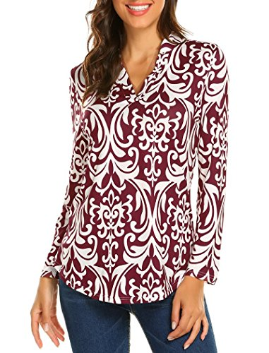Ladies Long Sleeve Tunic - Halife Ladies Tops Long Sleeve, Fall Tunic Tops Floral Henley V Neck Blouse Office Wine Red XL 1X