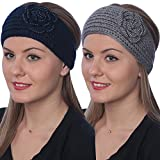 Active Club Winter Fashion Headbands-assorted Styles 2 Pack (Navy & Grey)