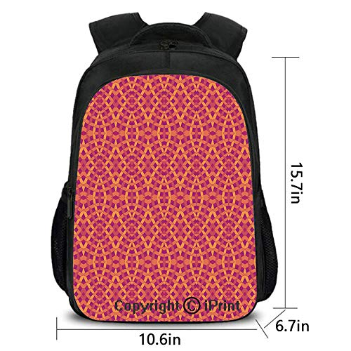 Women's Anti Theft Backpack,Modern Art with Ethnic Elements Harmony of Past and Future Theme,School Bag :Suitable for Men and Women,School,Travel,Daily use,etc.Orange Marigold Purple]()