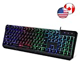 ⭐️ Klim Chroma Gaming Keyboard - Wired USB with Led Rainbow Lighting - Backlit, Ergonomic, Quiet, Water Resistant - Black RGB PC Windows PS4 Mac Keyboards - Teclado Gamer Silent Keys with Light Color