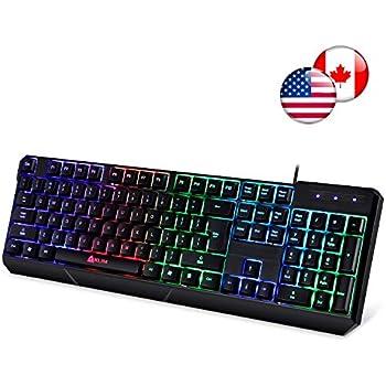 Klim Chroma Gaming Keyboard - Wired USB with Led Rainbow Lighting - Backlit, Ergonomic, Quiet, Water Resistant - Black RGB PC Windows PS4 Mac Keyboards ...
