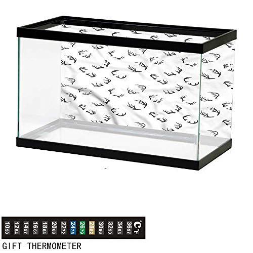 - bybyhome Fish Tank Backdrop Deer,Winter Deer Horns Barbed Bone,Aquarium Background,24