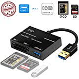 XQD/SD Card Reader Adapter, USB 3.0 Dual Slot Flash Memory Card Reader Connector High Speed(up to 5Gbp/s) Write SD(HC/XC), Sony G Series, Lexar USB Mark Card, Compatible with Windows/Mac OS System