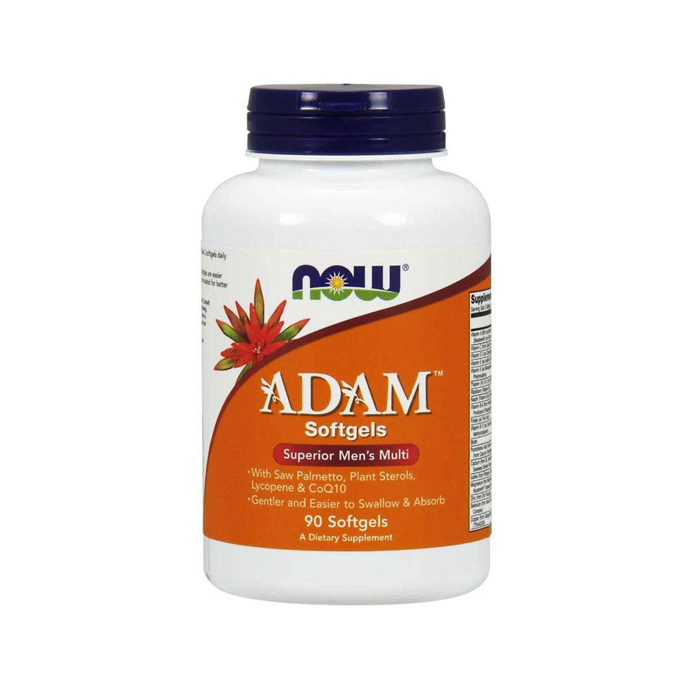 NOW Supplements, ADAM Men's Multivitamin with Saw Palmetto, Plant Sterols, Lycopene & CoQ10, 90 Softgels by NOW Foods