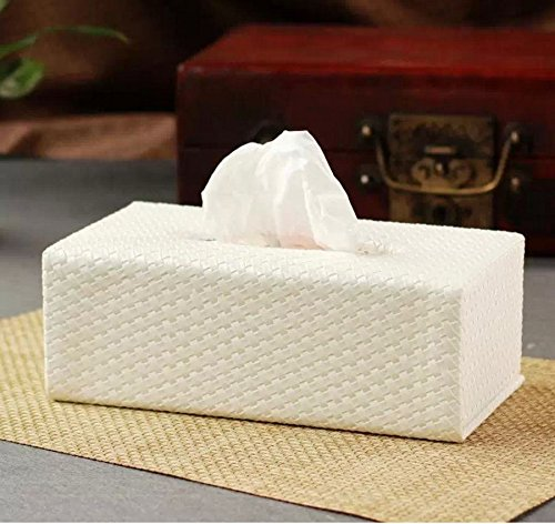 - Tissue Holders Vintage Tissue Holder White Woven Pattern Rectangle Pu Leather Tissue Box Paper Holder Tissue Holders Square Box 9.4*5.1*3.3