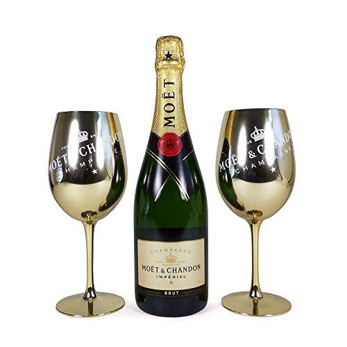 75cl Moet et Chandon Brut Imperial Champagner und 2 Goldene Becher – Geschenkidee für Valentinstag, Muttertag…